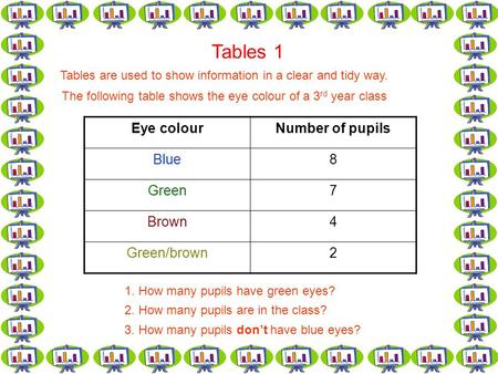 Tables 1 Tables are used to show information in a clear and tidy way. The following table shows the eye colour of a 3 rd year class Eye colourNumber of.