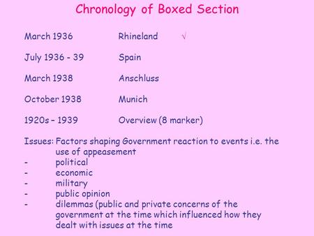 Chronology of Boxed Section March 1936Rhineland July 1936 - 39 Spain March 1938Anschluss October 1938Munich 1920s – 1939Overview (8 marker) Issues:Factors.