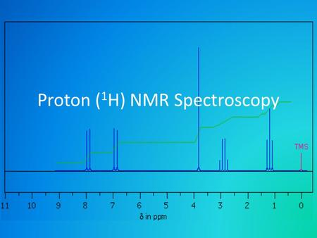 Proton ( 1 H) NMR Spectroscopy. Proton nuclear magnetic resonance Click on the link on the icon below to view a video introducing NMR spectroscopy.