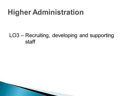 LO3 – Recruiting, developing and supporting staff.