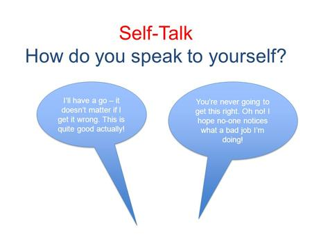 Self-Talk How do you speak to yourself? Youre never going to get this right. Oh no! I hope no-one notices what a bad job Im doing! Ill have a go – it doesnt.