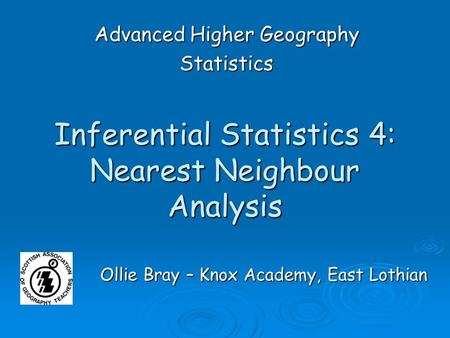 Inferential Statistics 4: Nearest Neighbour Analysis