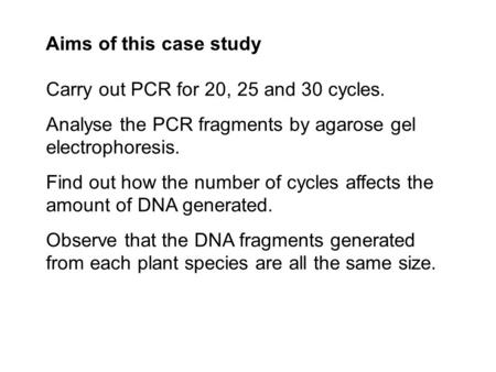 Carry out PCR for 20, 25 and 30 cycles. Analyse the PCR fragments by agarose gel electrophoresis. Find out how the number of cycles affects the amount.