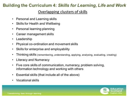 Overlapping clusters of skills Building the Curriculum 4: Skills for Learning, Life and Work.