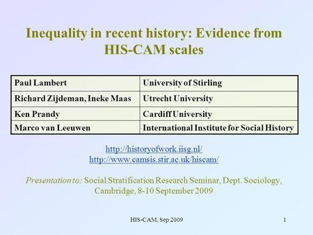 HIS-CAM, Sep 20091 Inequality in recent history: Evidence from HIS-CAM scales   Presentation.
