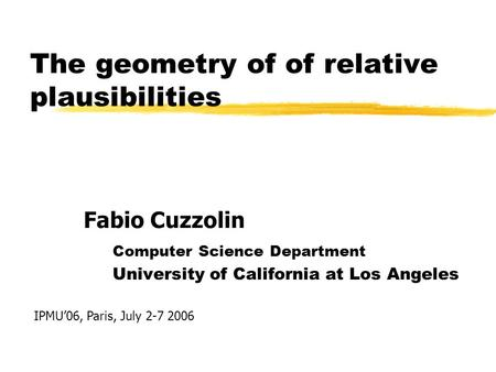 The geometry of of relative plausibilities