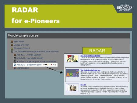 RADAR for e-Pioneers RADAR. Directorate of Learning Resources What is RADAR? R esearch A rchive D igital A sset R epository Institutional repository for.