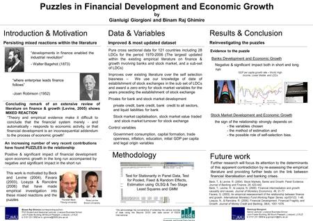 Puzzles in Financial Development and Economic Growth by Gianluigi Giorgioni and Binam Raj Ghimire Banks Development and Economic Growth Negative & significant.