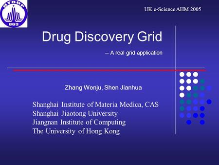 Drug Discovery Grid -- A real grid application Zhang Wenju, Shen Jianhua Shanghai Institute of Materia Medica, CAS Shanghai Jiaotong University Jiangnan.