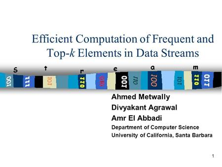 1 Efficient Computation of Frequent and Top-k Elements in Data Streams Ahmed Metwally Divyakant Agrawal Amr El Abbadi Department of Computer Science University.