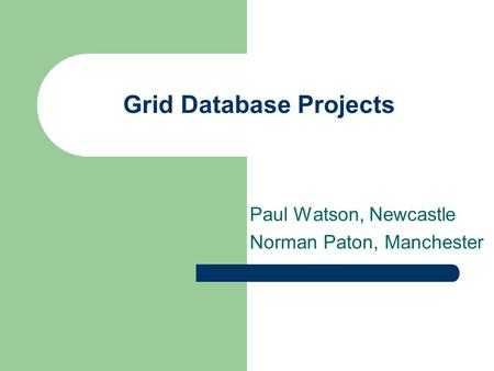 Grid Database Projects Paul Watson, Newcastle Norman Paton, Manchester.