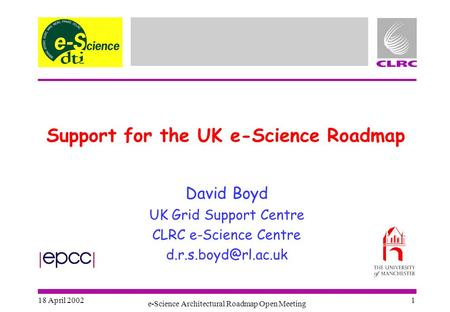 18 April 2002 e-Science Architectural Roadmap Open Meeting 1 Support for the UK e-Science Roadmap David Boyd UK Grid Support Centre CLRC e-Science Centre.