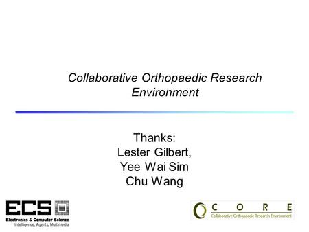 Collaborative Orthopaedic Research Environment Thanks: Lester Gilbert, Yee Wai Sim Chu Wang.
