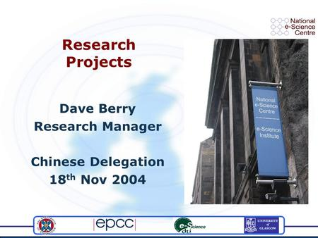 Research Projects Dave Berry Research Manager Chinese Delegation 18 th Nov 2004.