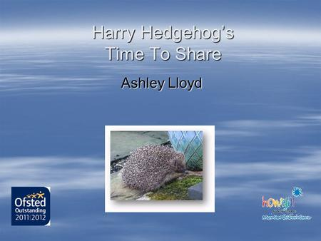 Harry Hedgehogs Time To Share Ashley Lloyd. A bereavement support group In the West Cumbrian Community.