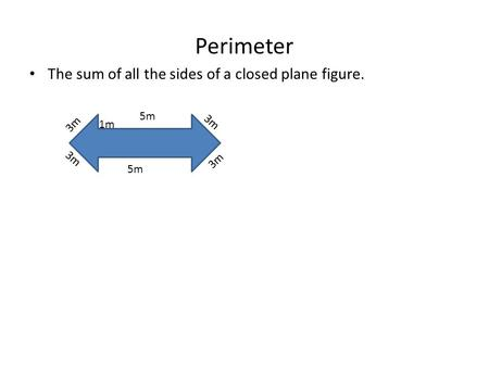 Perimeter The sum of all the sides of a closed plane figure. 5m 3m 1m.
