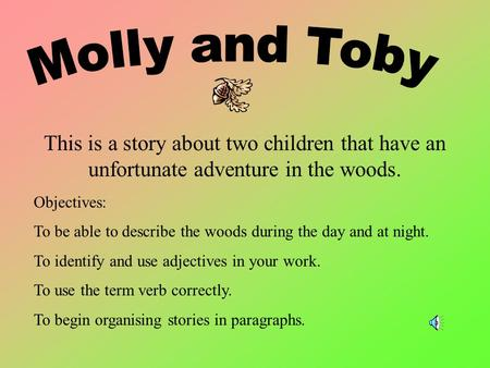 This is a story about two children that have an unfortunate adventure in the woods. Objectives: To be able to describe the woods during the day and at.