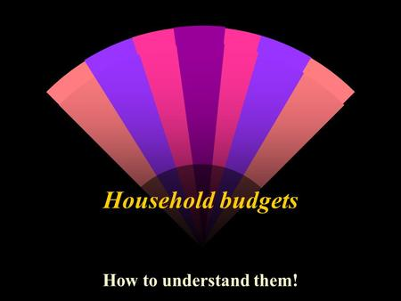 Household budgets How to understand them!. WALT Can I understand how to work out a household budget?