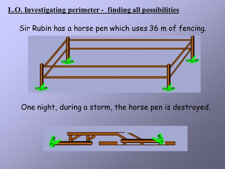 L.O. Investigating perimeter -  finding all possibilities