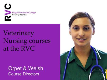 Veterinary Nursing courses at the RVC Orpet & Welsh Course Directors.