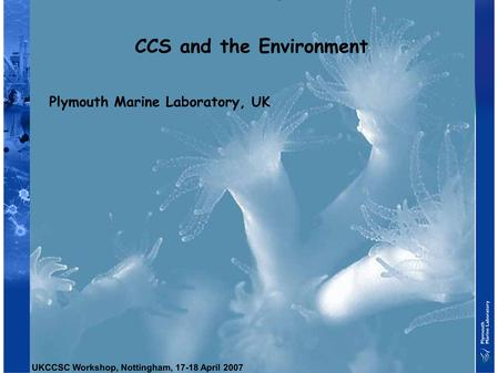 CCS and the Environment Plymouth Marine Laboratory, UK UKCCSC Workshop, Nottingham, 17-18 April 2007.