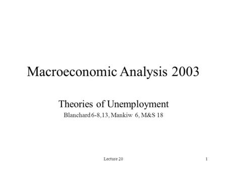 Lecture 201 Macroeconomic Analysis 2003 Theories of Unemployment Blanchard 6-8,13, Mankiw 6, M&S 18.