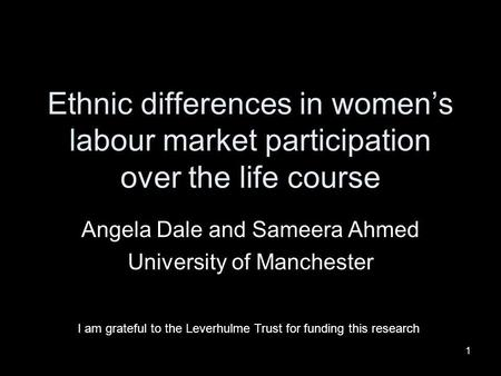 1 Ethnic differences in womens labour market participation over the life course Angela Dale and Sameera Ahmed University of Manchester I am grateful to.