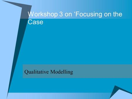 Workshop 3 on Focusing on the Case Qualitative Modelling.