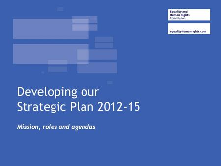 Developing our Strategic Plan 2012-15 Mission, roles and agendas.