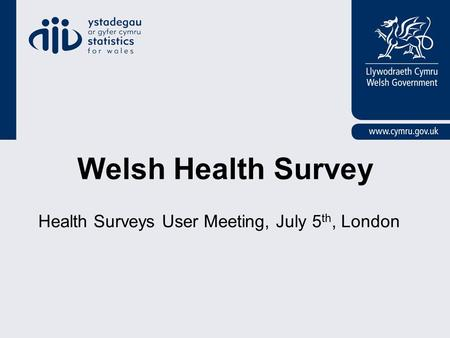 Welsh Health Survey Health Surveys User Meeting, July 5 th, London.
