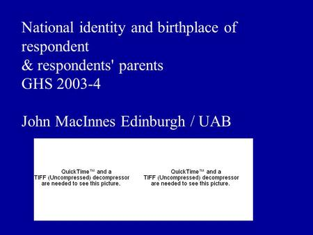 National identity and birthplace of respondent & respondents' parents GHS 2003-4 John MacInnes Edinburgh / UAB.