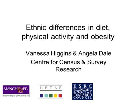 Ethnic differences in diet, physical activity and obesity Vanessa Higgins & Angela Dale Centre for Census & Survey Research.