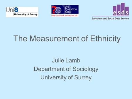 The Measurement of Ethnicity Julie Lamb Department of Sociology University of Surrey.
