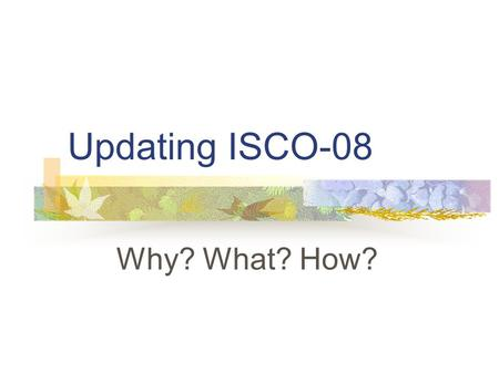 Updating ISCO-08 Why? What? How?. Bureau of Statistics Reasons Developments in the world of work in last 15 years Experience gained in adapting ISCO-