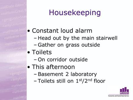 Housekeeping Constant loud alarm –Head out by the main stairwell –Gather on grass outside Toilets –On corridor outside This afternoon –Basement 2 laboratory.