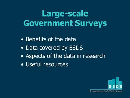 1 Large-scale Government Surveys Benefits of the data Data covered by ESDS Aspects of the data in research Useful resources.