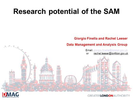 Research potential of the SAM Giorgio Finella and Rachel Leeser Data Management and Analysis Group  .