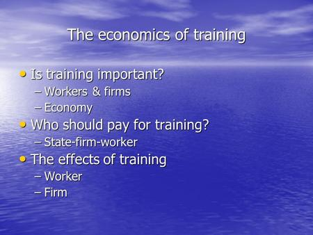 The economics of training Is training important? Is training important? –Workers & firms –Economy Who should pay for training? Who should pay for training?