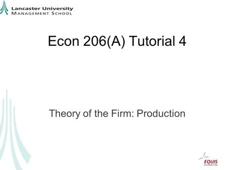 Econ 206(A) Tutorial 4 Theory of the Firm: Production.