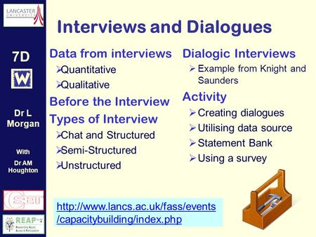 7D Interviews and Dialogues  /capacitybuilding/index.php Data from interviews Quantitative Qualitative Before the Interview.