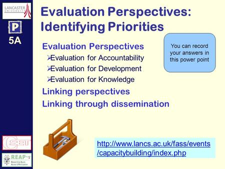 5A Evaluation Perspectives: Identifying Priorities  /capacitybuilding/index.php Evaluation Perspectives Evaluation for.