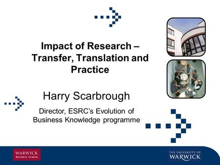 Impact of Research – Transfer, Translation and Practice Harry Scarbrough Director, ESRCs Evolution of Business Knowledge programme.