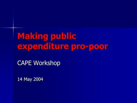 Making public expenditure pro-poor CAPE Workshop 14 May 2004.