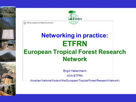 Networking in practice: ETFRN European Tropical Forest Research Network Birgit Habermann ANN-ETFRN (Austrian National Node of the European Tropical Forest.