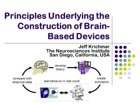 Principles Underlying the Construction of Brain- Based Devices Jeff Krichmar The Neurosciences Institute San Diego, California, USA test behavior in real.