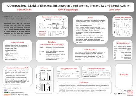 A Computational Model of Emotional Influences on Visual Working Memory Related Neural Activity Nienke Korsten Nikos Fragopanagos John Taylor OFC DLPFC.
