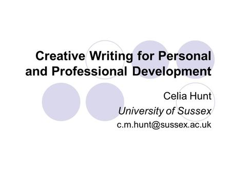 the creative writing a personal experience