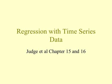 Regression with Time Series Data