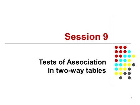 1 Session 9 Tests of Association in two-way tables.