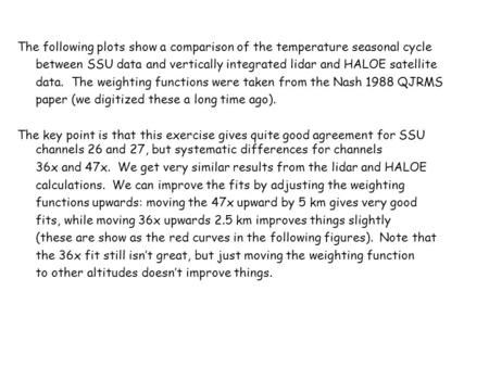 The following plots show a comparison of the temperature seasonal cycle between SSU data and vertically integrated lidar and HALOE satellite data. The.